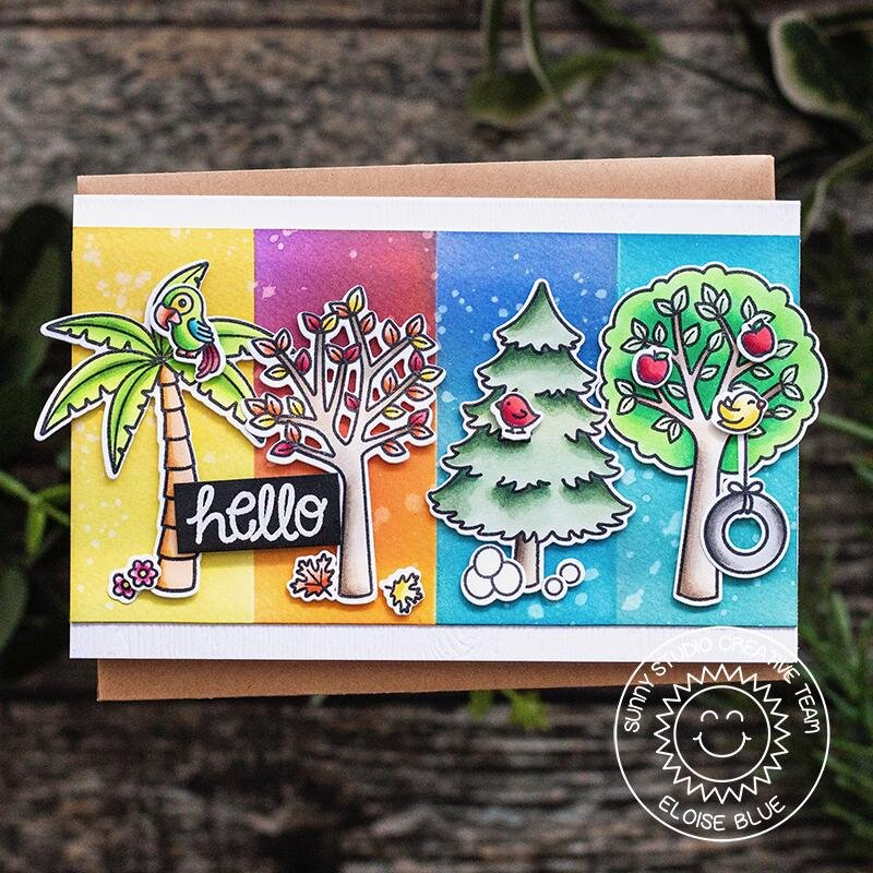 Sunny Studio Stamps Seasonal Trees Card by Eloise Blue