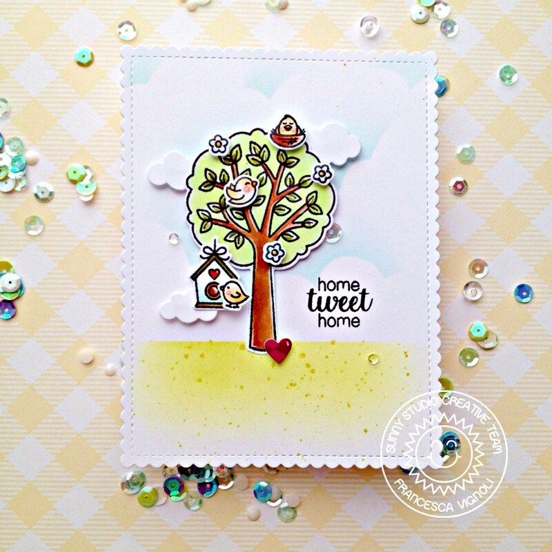 Sunny Studio Stamps Seasonal Trees Card by Franci