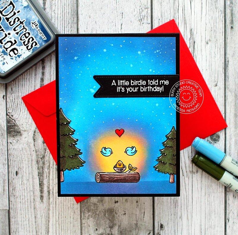 Sunny Studio Stamps Seasonal Trees Birdie Card by Vanessa Menhorn