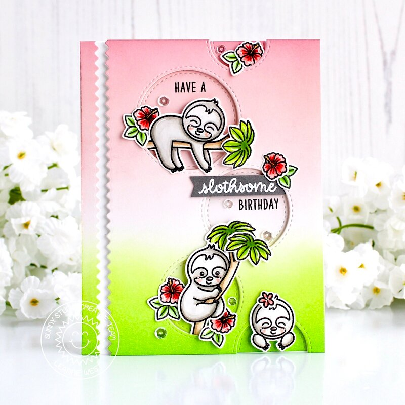 Sunny Studio Stamps Silly Sloths Card by Leanne West