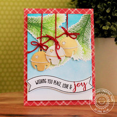 Sunny Studio Silver Bells Christmas Card by Eloise Blue