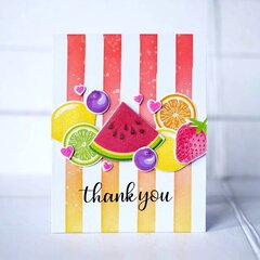 Sunny Studio Stamps Slice of Summer Fruit Thank You Card by Lexa Levana