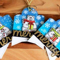 Sunny Studio Playful Polar Bear Gift Tags by Eloise Blue
