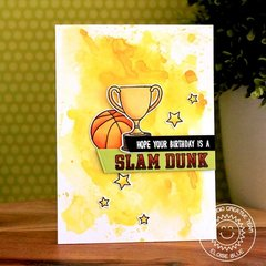 Sunny Studio Stamps Team Player Trophy Card by Eloise Blue