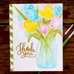 Sunny Studio Timeless Tulips Watercolor Card by Vanessa Menhorn