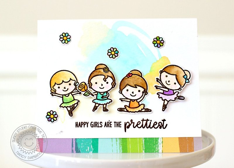 Sunny Studio Stamps Tiny Dancer Card by Nancy Damiano