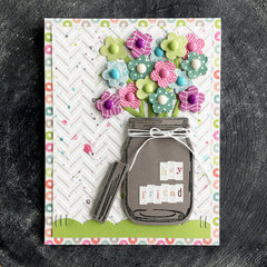 Sunny Studio Vintage Jar Flower Bouquet Card by Laura Vegas