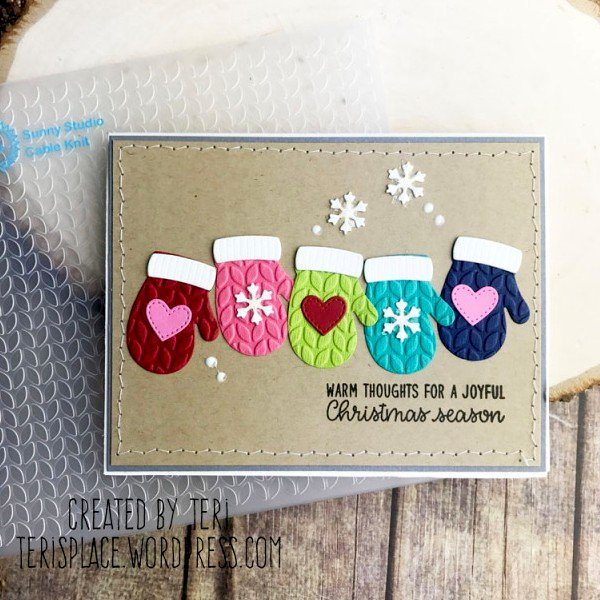 Sunny Studio Stamps Warm & Cozy Mittens Card by Teri Anderson