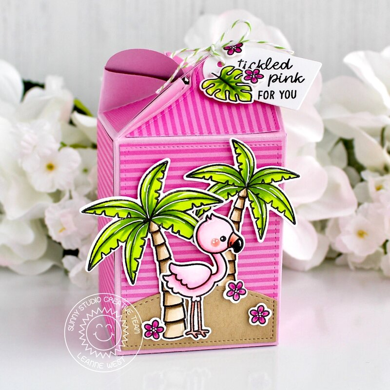 Sunny Studio Stamps Fabulous Flamingos Box by Leanne West
