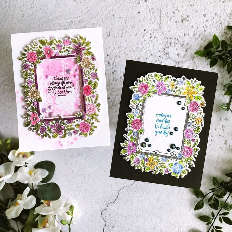 Watercolored Floral Frames cards