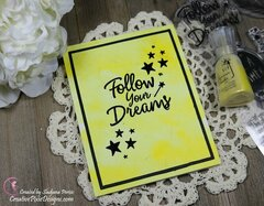 Nuvo Shimmer Powder backgrounds with Altenew Happy Dreams stamp set cards.