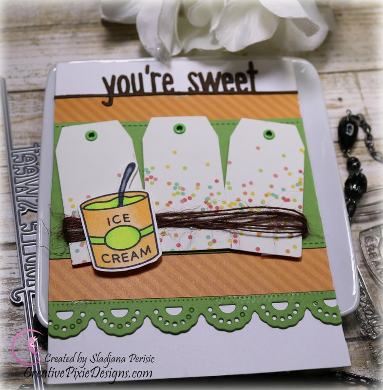 You're Sweet Ice Cream inspired card featuring Lawn Fawn