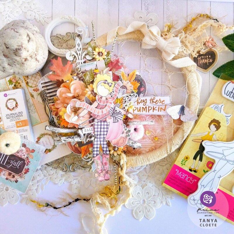 Prima Pumpkin and Spice + Julie Nutting Mandy Doll Altered Hoop