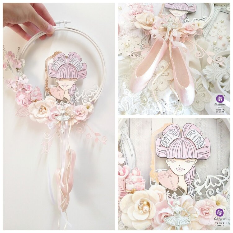 Prima With Love + Julie Nutting Doll Rebecca Altered Embroidery Hoop