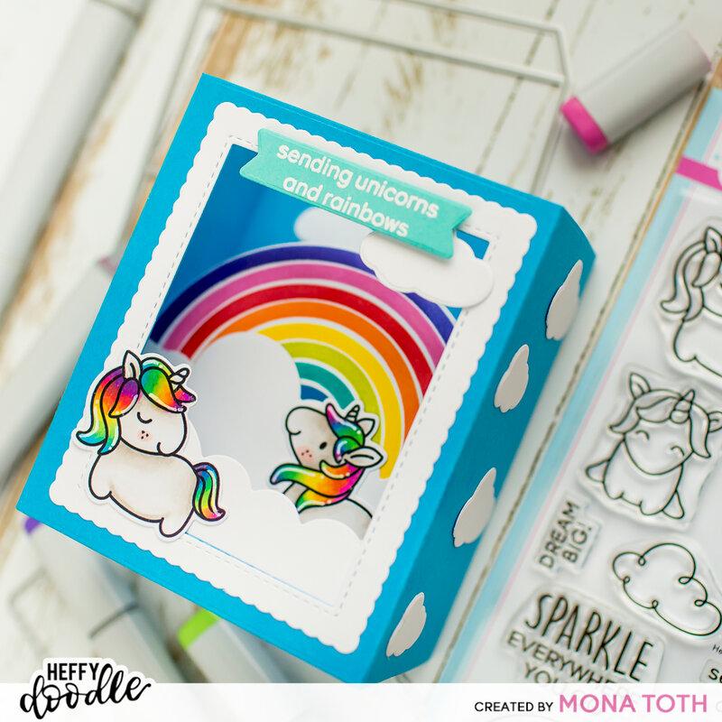 Large Shadowbox card with Unicorns   Heffy Doodle