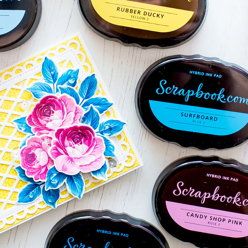Hybrid ink combinations with Sunny Studio stamp