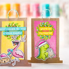 Cute Lawn Fawn tags with Glitter Brush Pen