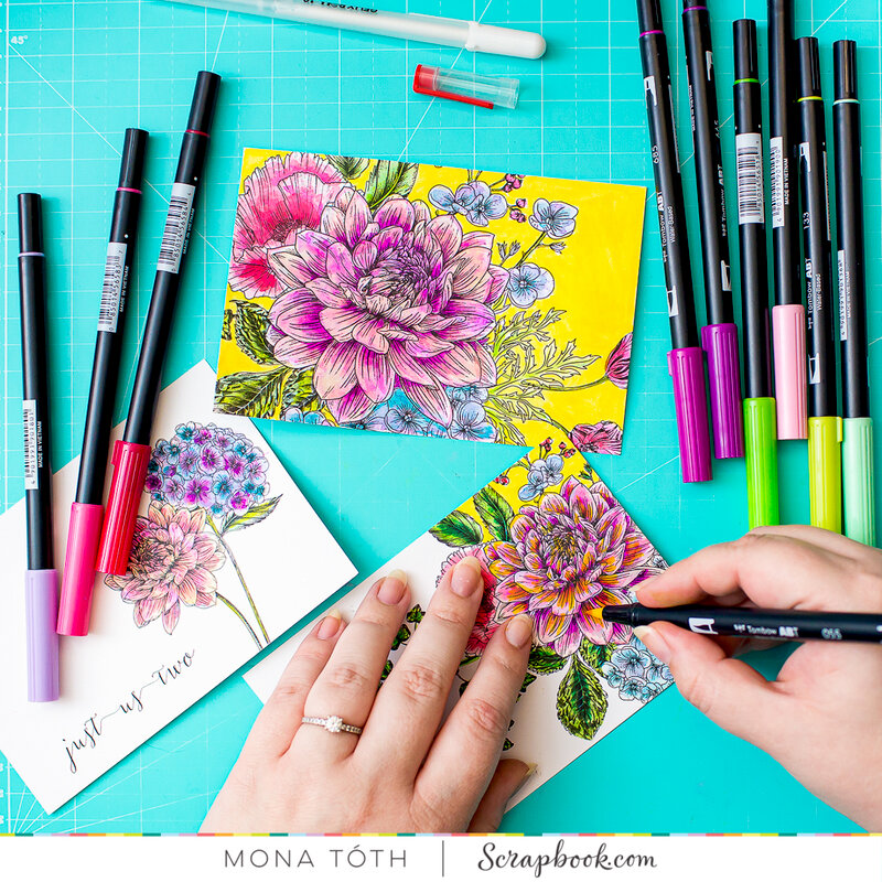 Floral cards with Tombow Markers