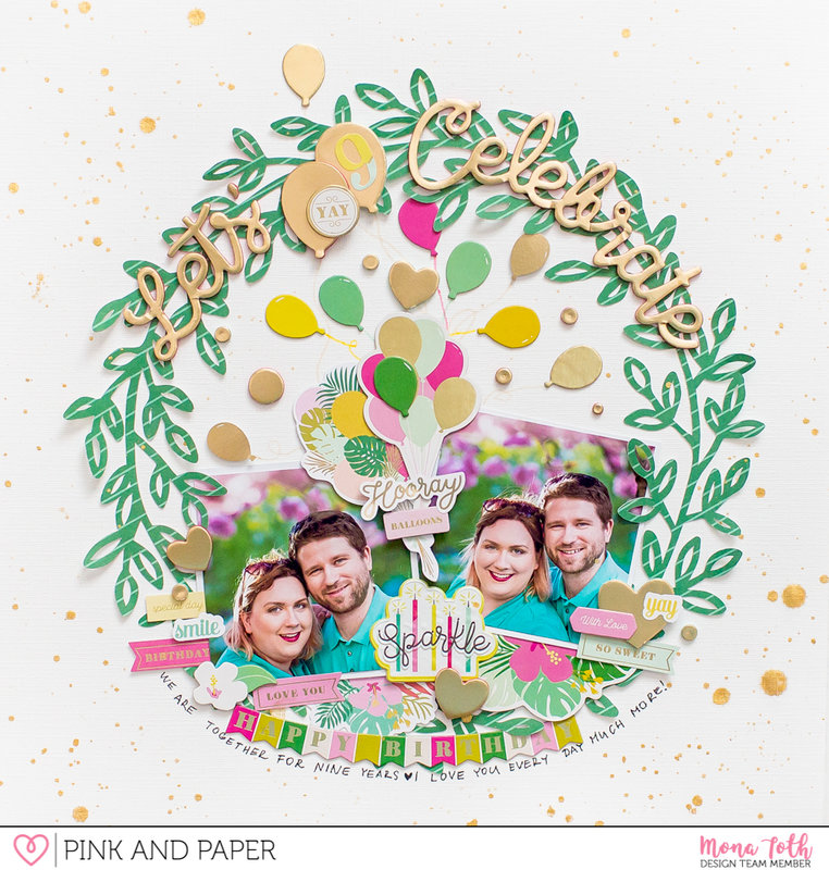 Pink Paislee | Confetti Wishes | Let's celebrate | Scrapbook Layout