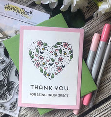 Honey bee stamps - Thank you card