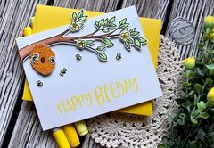 Honey bee stamps - Happy birthday card
