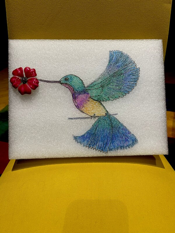 Iridescent drawing of a hummingbird (1st drawing novice)