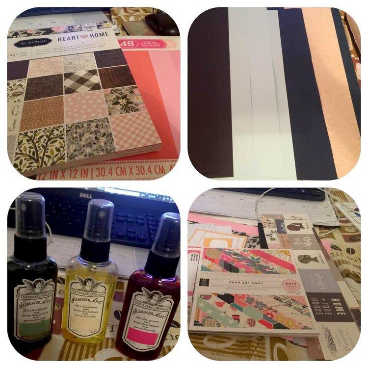 April kit  pattern paper/cardstock/mist and scraps