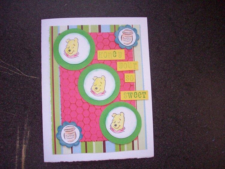 Little girl Pooh card