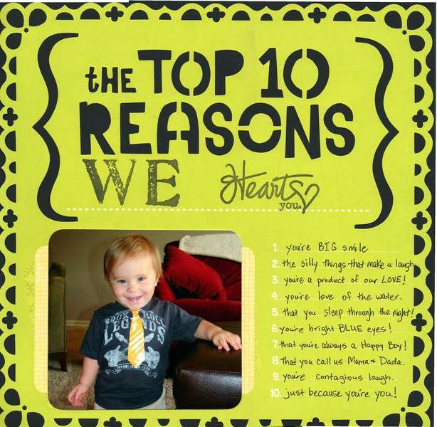 the TOP 10 REASONS WE heart you.....