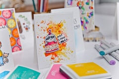 Lesson 6 - How to Create Emboss Resist Watercolor Smooshing with Distress Inks