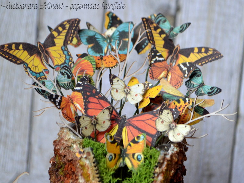 Butterfly tree trunk nest with Graphic 45 Nature Sketchbook