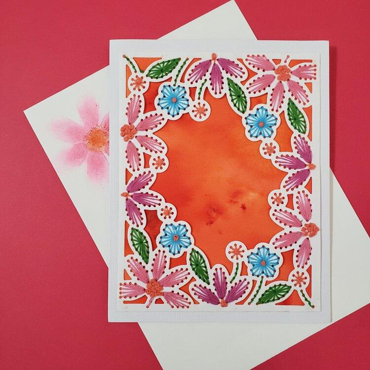 Stitched Orange Card
