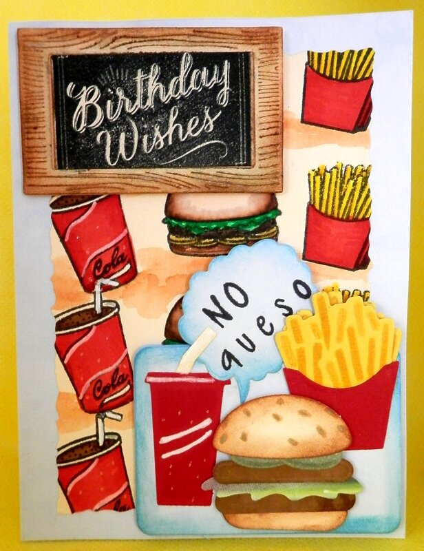 Fast Food Birthday Card - side view