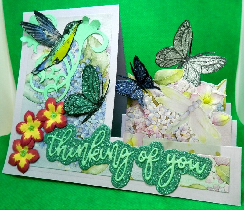 Hummingbird and Butterflies Step Card