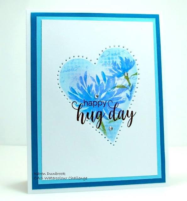 Happy Hug Day Watercolor Challenge Card