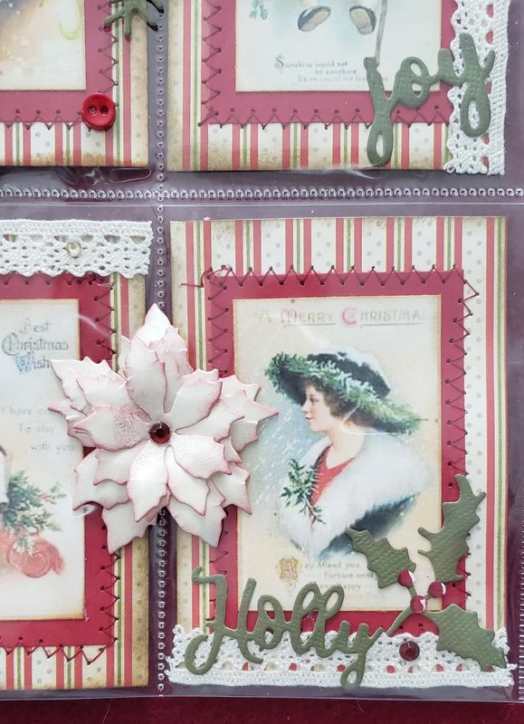 Closeup of the poinsettia and die cuts