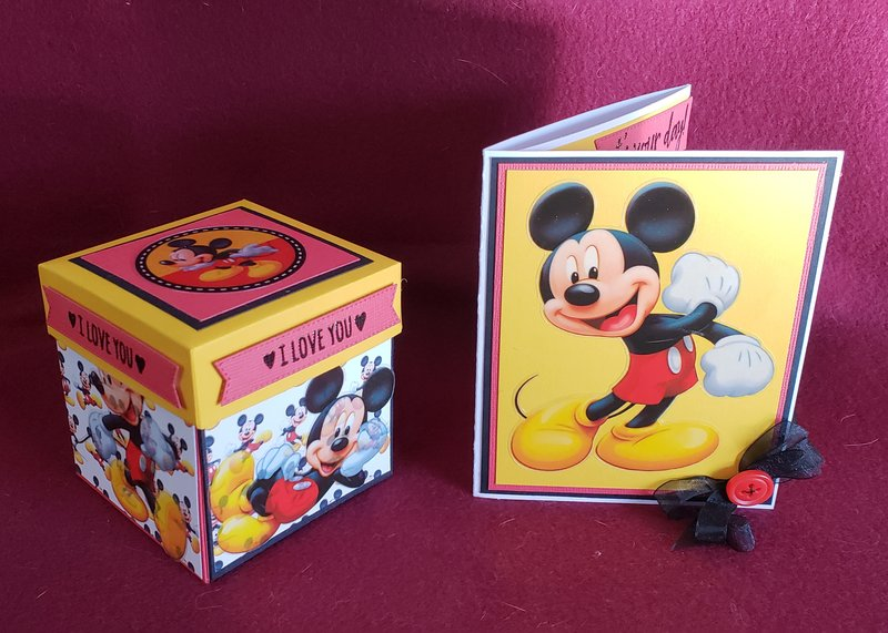 Mickey themed card and gift box that opens to reveal two drawers