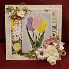 A spring card made with Bo Bunny Cottontail paper