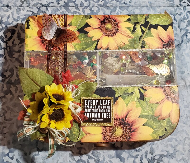The front of my fall embellishment box for a FB swap
