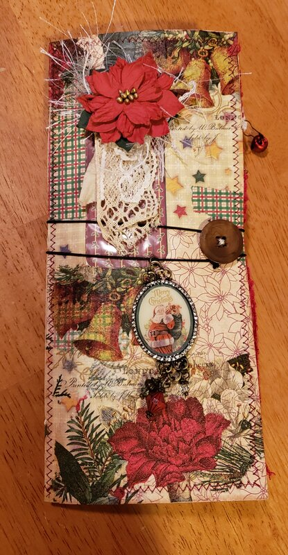 Front cover of collaged papers and napkin images