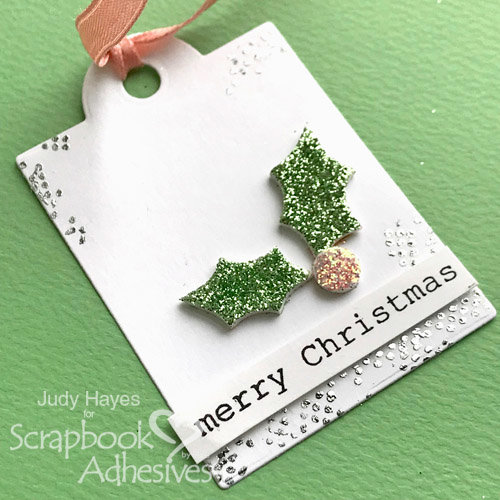 Glitter Holly Gift Tag