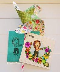 Aloha card and pinwheel