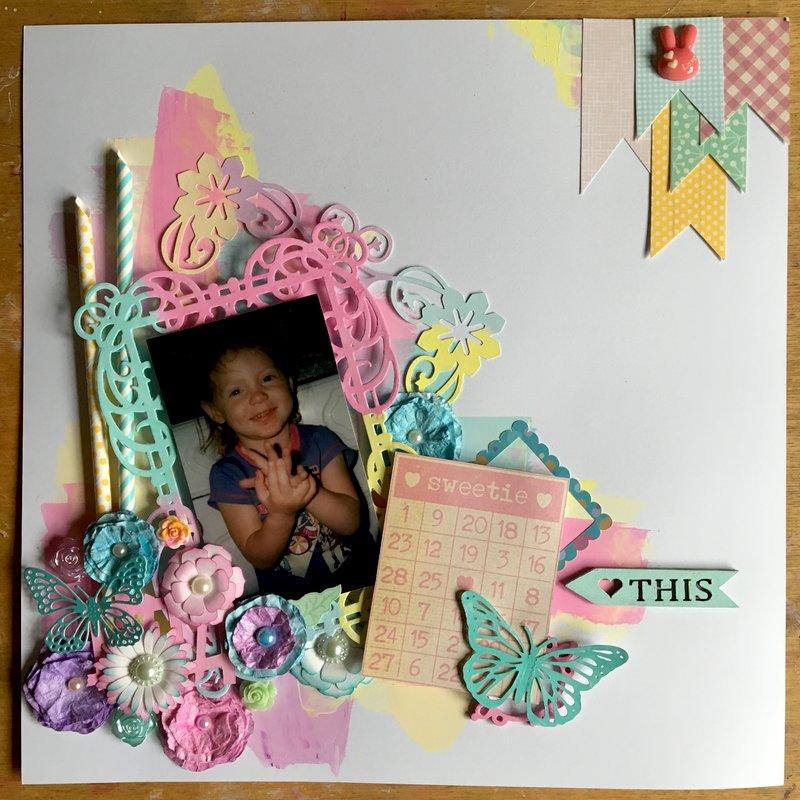 mixed media pastel coloured layout