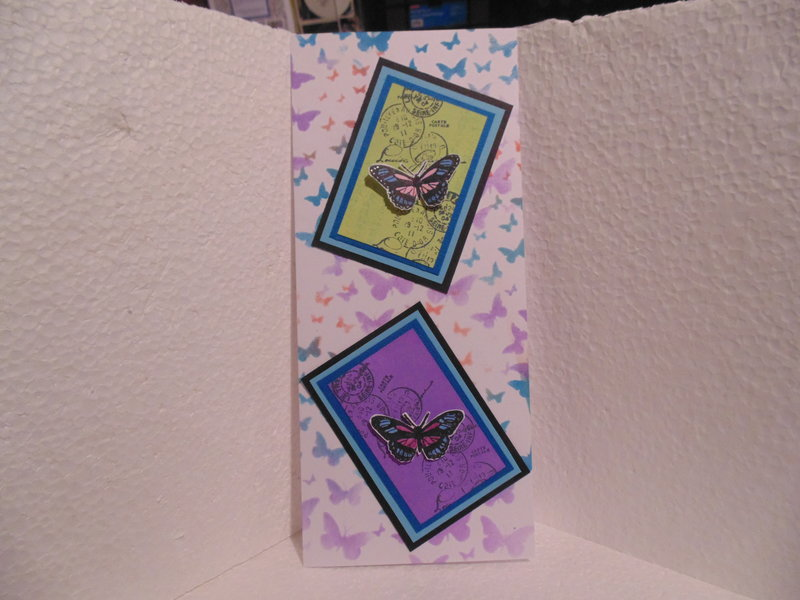 Card with butterfly skies stencil by Kaiser Craft