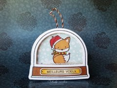 Snow globe card ornament