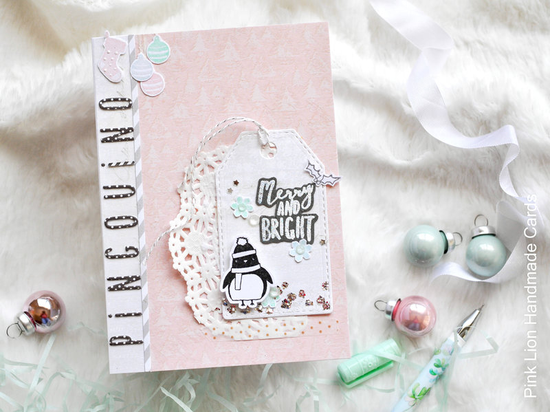 Merry and bright. Personalized handmade card