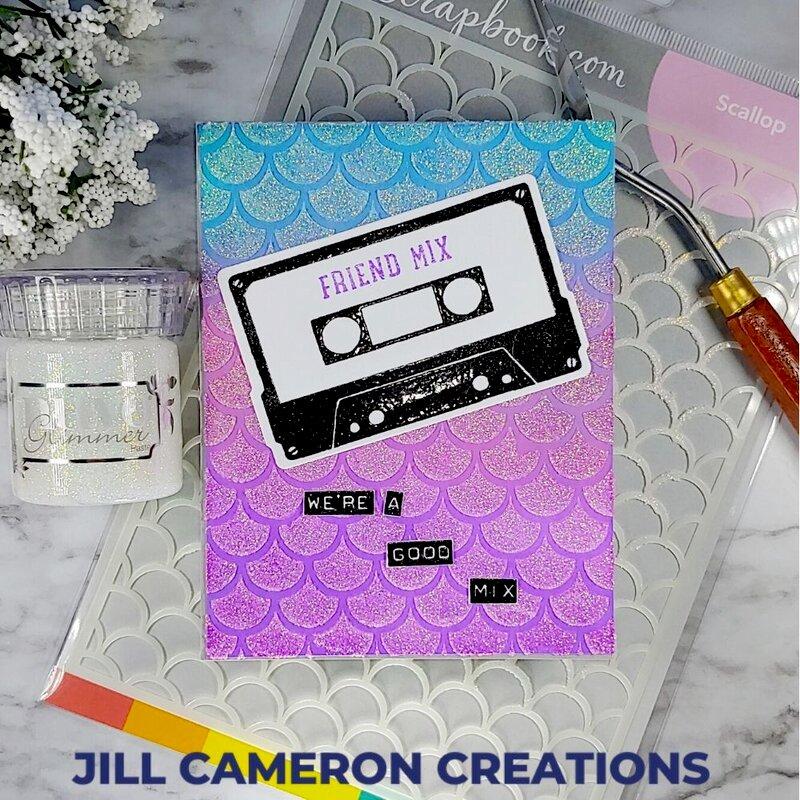 Scallop Stencil 80's Mix Tape Card