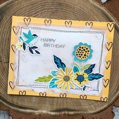 Happy Birthday Card with Bird & Flowers