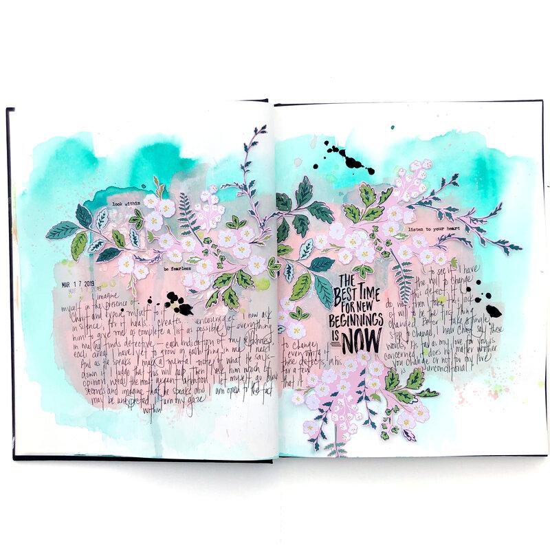 New Beginnings Art Journal Spread