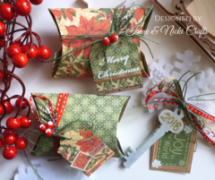 Graphic45- Christmas Table Gift Box, Lucky Charm Key and Tag